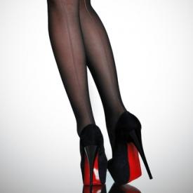 Женские ножки черных колготках