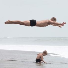папа-циркач,папа и сын,спорт